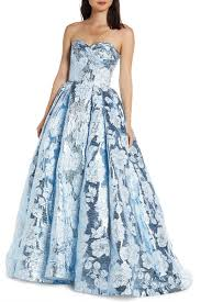 Mac Duggal Strapless Metallic Floral Jacquard Prom Dress Nordstrom Rack