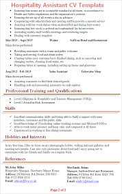 sales assistant cv example hospitality assistant cv template tips and download cv plaza