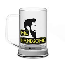 Indigifts Valentine Gifts Mr Handsome Quote Handsome Bearded Man Illustration Clear Glass Beer Mug 325 Ml Gift For Boyfriend Husband Birthday Him