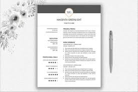 One Page Resume Two Page Resume Cover Letter Design Monogram Professional Resume Template Word Download Resume Cv Template