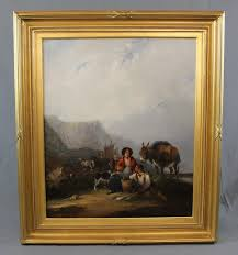 19th century figural coastal seascape oil painting with donkey isle of wight by