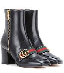gucci leather ankle boots nero