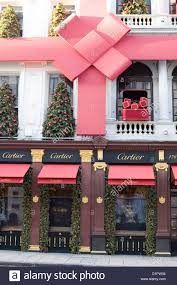 cartier shop front christmas decorations on the streets of london