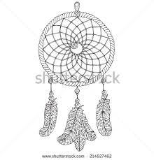 Dream Catcher Outline Amulet Dream Catcher Handdrawn Illustration Object Stock Vector 15
