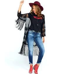 womens leather duster black crochet fringe trim hi res trench coat womens leather duster