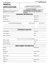 Application Form For Rental Rental Application Form Wisconsin No 996 Fill Out And Sign