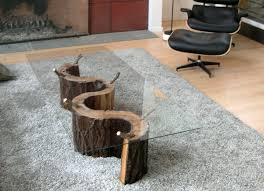 image of modern tree trunk coffee table