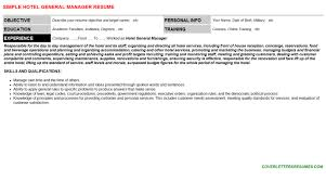 Hotel General Manager Resume Cover Letter Cv Letters Resumes