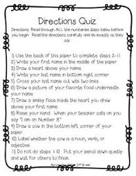 tried it tuesday directions test the tales of room  tricky following directions quizzes a fun way to remind students about the importance of