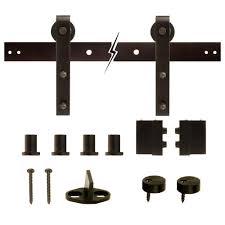 dark oil rubbed bronze wheel sliding barn door track and hardware kit