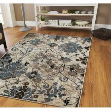 medium 5x8 modern distressed area rug blue beige area rug fl groupon
