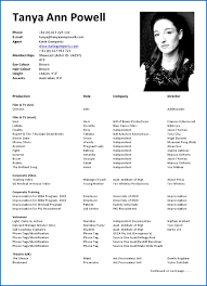 Acting Resume Sample Examples For Actors Cv Beginner Example