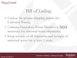 Universal Bill Of Lading Hazardous Waste Generator Training Ppt Video Online Download