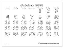 October 2020 Calendar 56ss Michel Zbinden En