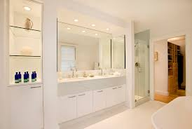 recessed lighting bathroom modern with closet system blue shower tile
