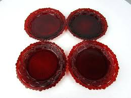 set of 4 red glass plates ruby dinner