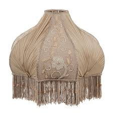 victorian antique buff pleated chiffon and embroidered panels lamp shade large
