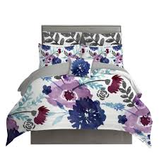 purple and navy blue watercolor fl chintz duvet cover