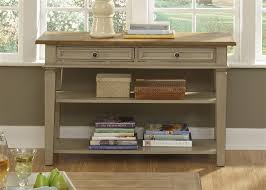 bungalow jr executive credenza hutch in driftwood taupe finish by liberty furniture 541 ho120