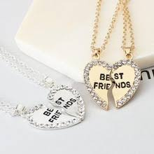 best friends two halves heart necklaces gold silver pendant fashion symbol of friendship gifts for