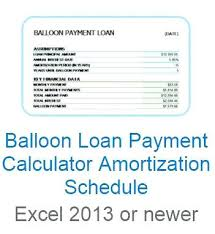 Baloon Payment Calculator Excel Payment Schedule Amortization Chart Loan In Balloon