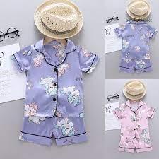 Bộ Đồ Ngủ Pijama Ngắn Tay In Hình Kỳ Lân Cho Bé Sơ Sinh Bya03