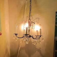 vtg ornate brass crystal chandelier crystal prisms 5 light made in spain