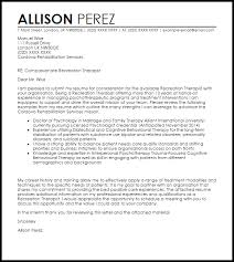 Recreation Cover Letter 1 Therapist Sample Techtrontechnologies Com