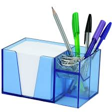 Paper Holder Clips Acrimet Desk Organizer Pencil Paper Clip Holder Clear Blue Color