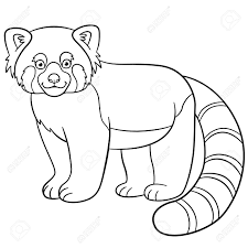 Coloring Pages Little Cute Red Panda Stands And Smiles Royalty