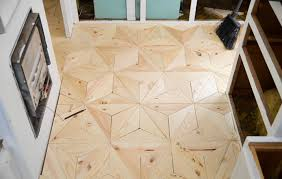 geometric plywood floor