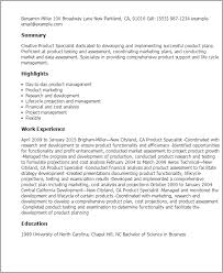 Resume Templates: Product Specialist