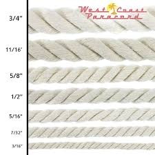 Rope Size Chart Large Cotton Rope Multiple Sizes