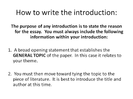 writing assignment to kill a mockingbird by harper lee ppt  how to write the introduction the purpose of any introduction is to state the reason