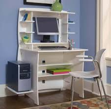 Furniture: Fascinating White Hutch Small Space Desk With A Lot Of Open  Storage Shelves Featuring