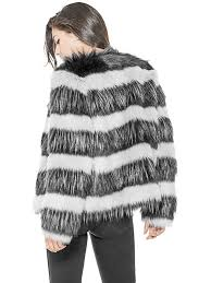 white multi striped faux fur jacket guess coats jackets w74l18wa0f0