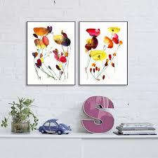 set of 2 prints set of flower artwork poppies art fl art print meadow flower wall art set of 2 fl prints watercolour painting