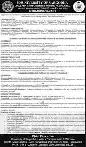 jobs in university of sargodha lyallpur campus faisalabad  jobs in university of sargodha lyallpur campus faisalabad 23 2016