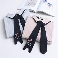 <b>Merry Pretty</b> Spring Women's Shirt Preppy Style <b>Cute</b> Necktie Cat ...