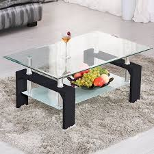 chrome furniture. uenjoy rectangular glass coffee table shelf chrome black wood living room furnitureblack furniture