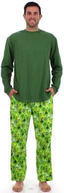 Men's Christmas Trees Green Flannel Pajama Sets by SleepytimePjs ...