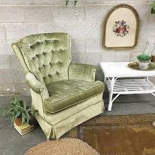local pickup only vintage lounge chair retro 1970s fairfield chair company green velvet high back swivel