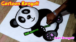 Easy Cartoon Rangoli Designs Cartoon Rangoli Panda Rangoli Easy Cartoon Poster Rangoli