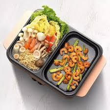 LẨU NƯỚNG 2TRONG1] Bếp lẩu điện mini 2 ngăn chống dính Nồi Lẩu Nướng Điện  Đa Năng Nồi Lẩu Điện 2 Ngăn Đa Năng Mini Nồi Nướng Điện Siêu Tốc Chống Dính