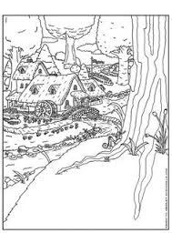 coloring page elf village kleurplaat elfen stad