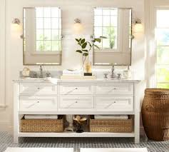 bathroom pivot mirror. Pottery Barn Bathroom Ideas With Silver Framed Pivot Mirrors Using Wicker Baskets Mirror O