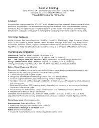Video Production Resume Samples Simple Video Production Resume