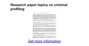 research paper topics on criminal profiling google docs