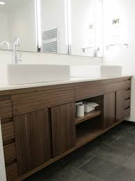 Brown Striped Pattern Solid Wood Large Bathroom Vanity With ...