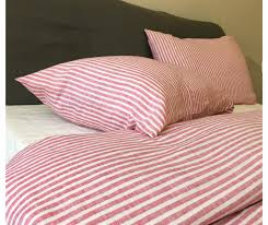 red and white striped bedding